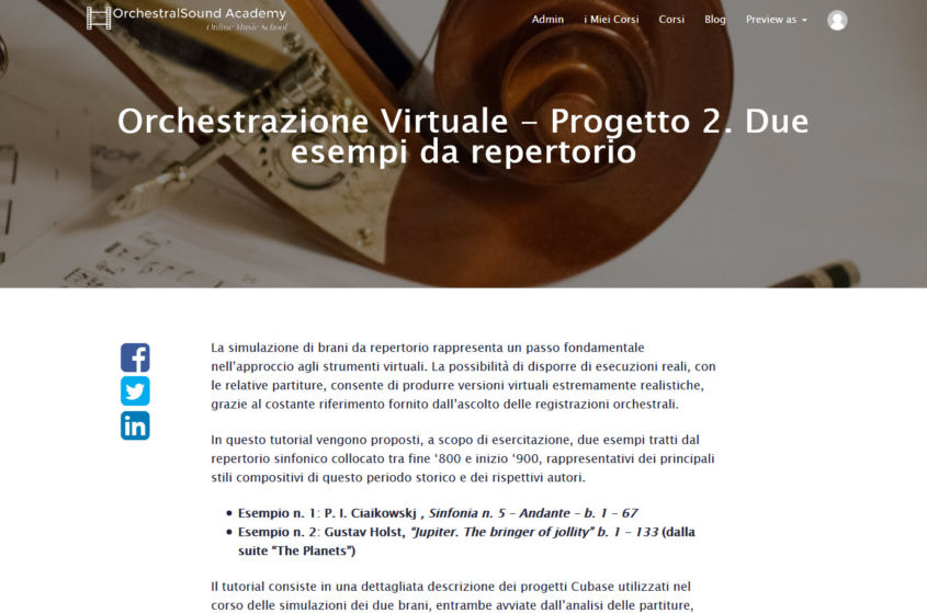 Orchestrazione virtuale – Progetto 2 – Due brani da repertorio.